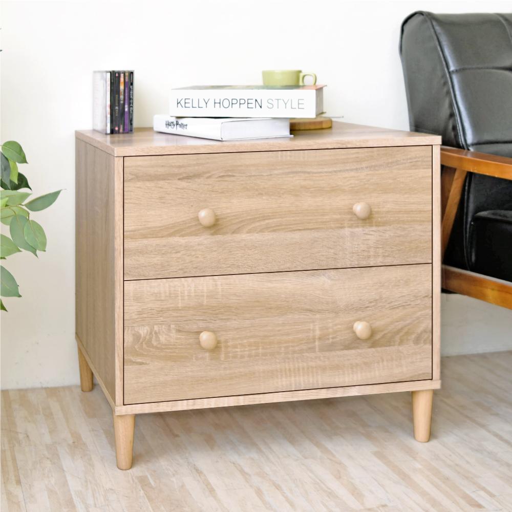 《HOPMA》DIY巧收和風實木腳二抽斗櫃/收納櫃/抽屜櫃-寬60.5 x深40.5 x高54cm