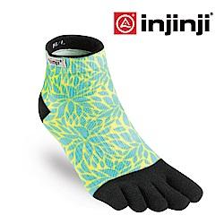 【INJINJI】RUN女性輕量吸排五趾短襪-蕨葉藍