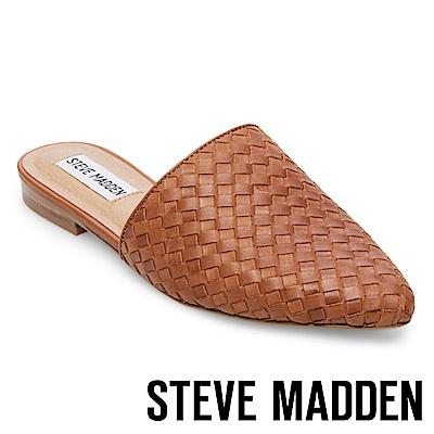 STEVE MADDEN-TIMID尖頭低跟真皮編織穆勒鞋-棕色