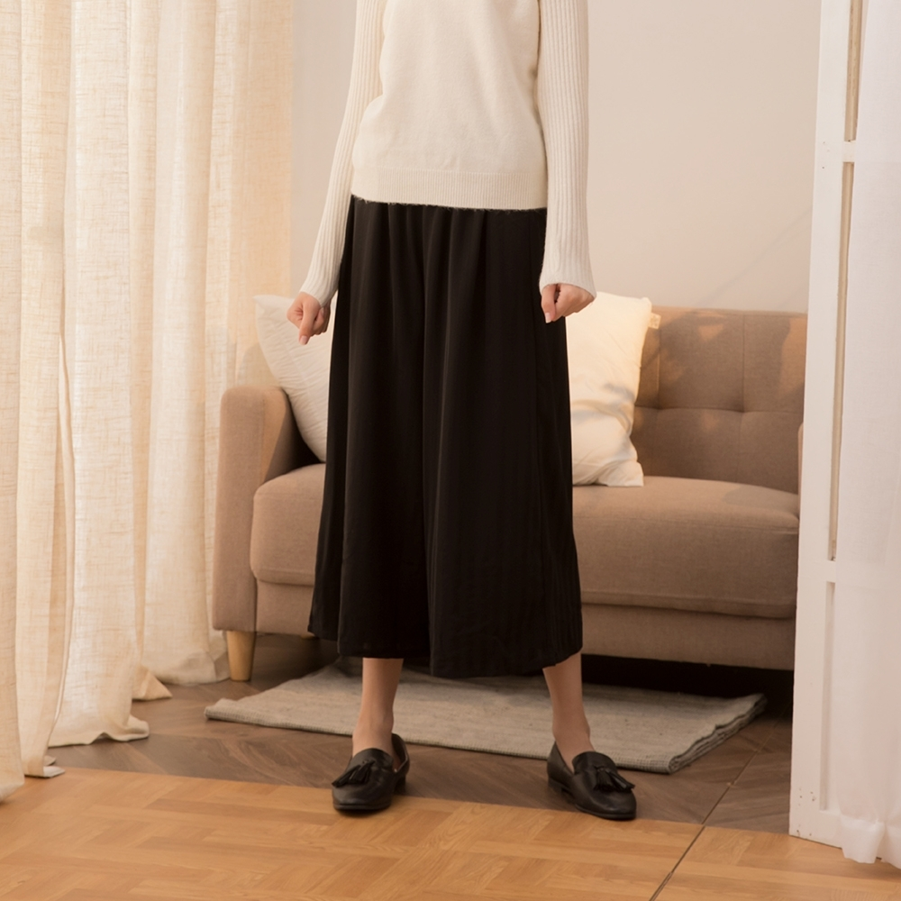 【CUMAR】鬆緊帶直條紋-女寬褲(二色/版型適中)