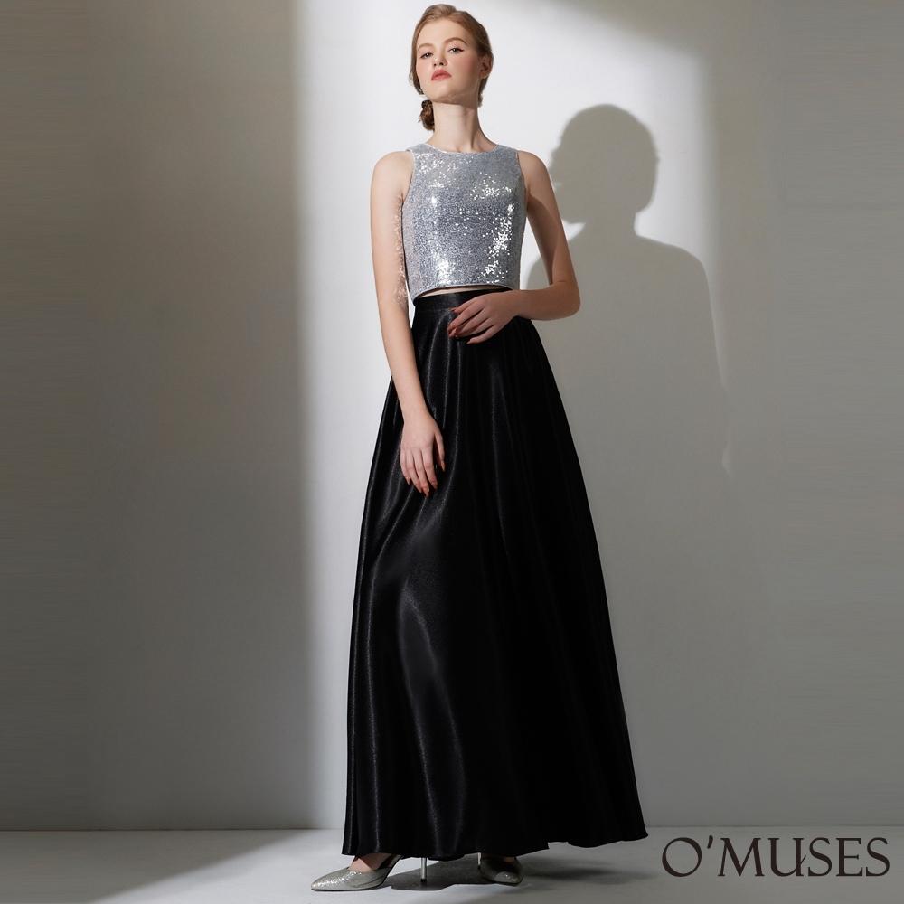 OMUSES 重工滿版亮片上衣+緞布兩件式長禮服