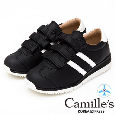 Camille's 韓國空運-正韓製-撞色雙線條魔鬼氈運動休閒鞋-黑色