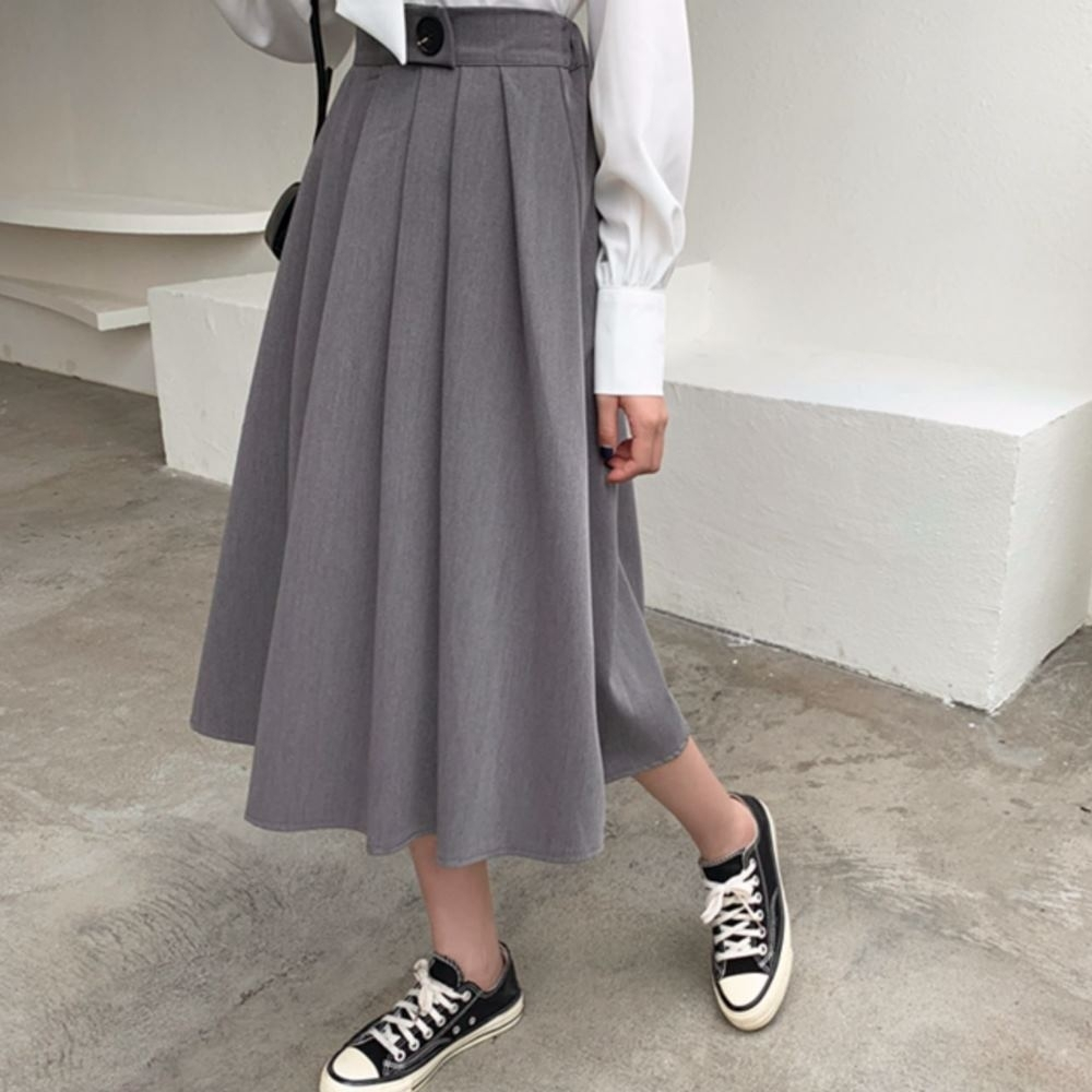 La Belleza鬆緊腰單釦腰打摺西裝布料寬百摺裙七分裙