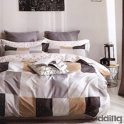BEDDING-100%棉單人鋪棉床包兩用被套三件組-海洋之星-咖