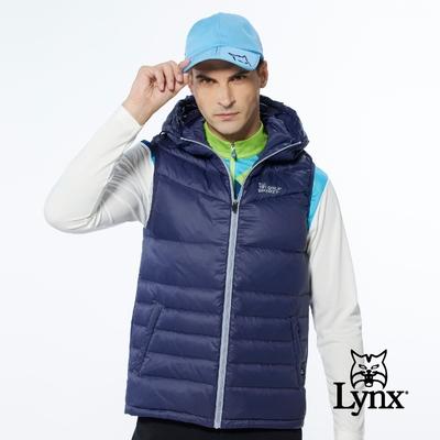 【Lynx Golf】男款保暖羽絨素面款脇邊羅紋設計無袖連帽背心-深藍色