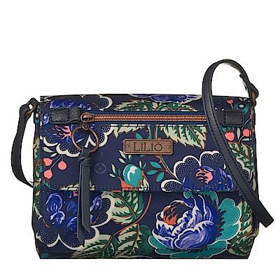 翻蓋方型斜背包-法國玫瑰復刻印花-紺青藍 LiliO