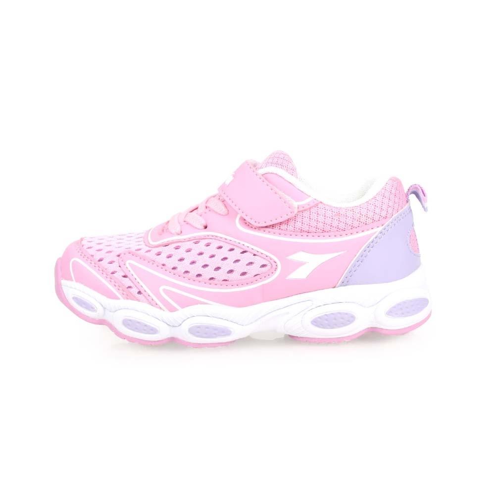 DIADORA 男女中童慢跑鞋-路跑 訓練 魔鬼氈 童鞋 粉紅淺紫