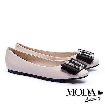 平底鞋 MODA Luxury 柔美雅緻璀璨白鑽方飾釦真皮方頭平底鞋-米