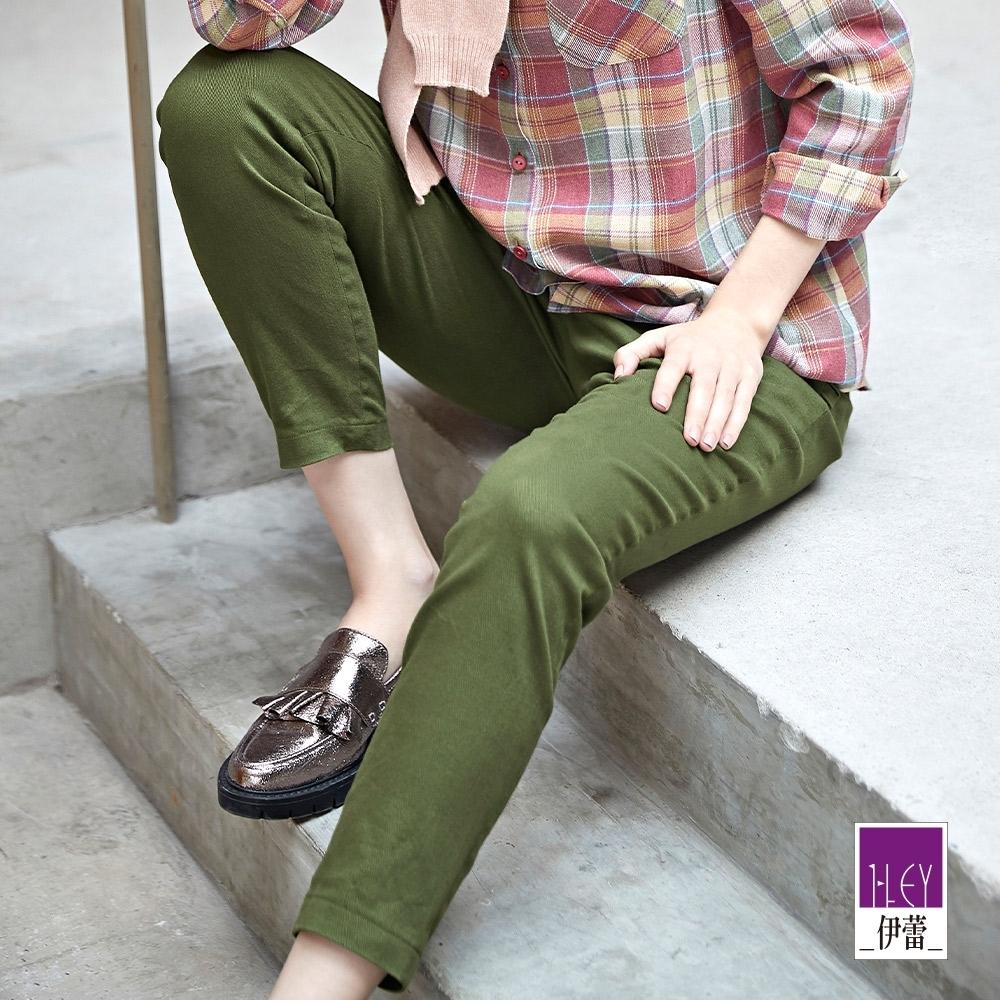 ILEY伊蕾 百搭純色斜紋彈性直筒褲(綠)