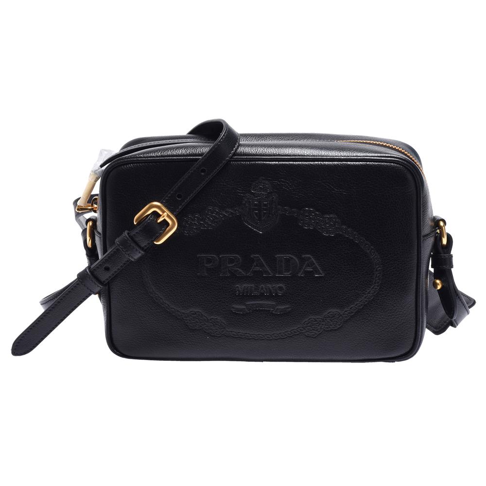 PRADA GLACE經典品牌LOGO烙印牛皮拉鍊斜背包(黑)