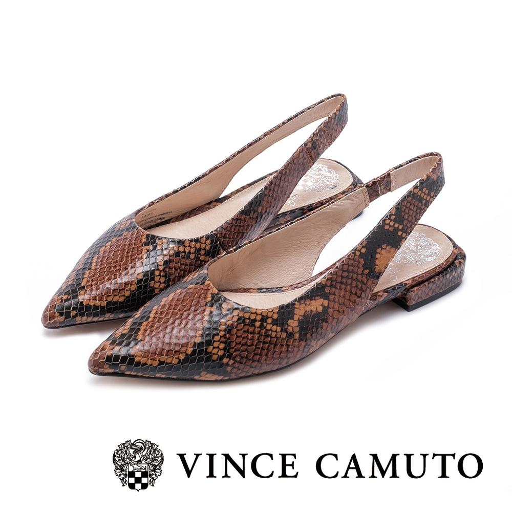 VINCE CAMUTO 微露性感 繫踝帶尖頭低跟鞋-蛇紋