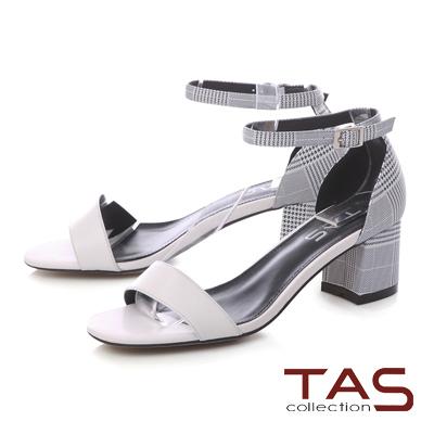 TAS千鳥格紋後包踝繫帶粗跟涼鞋-優雅白