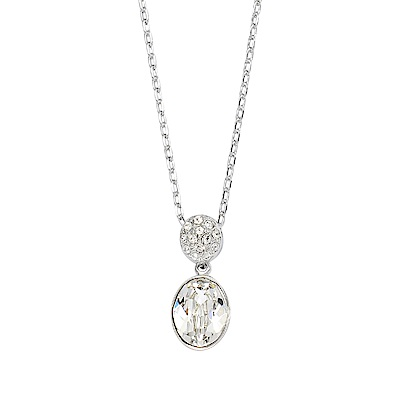 SWAROVSKI 施華洛世奇 VANITA璀璨橢圓水晶銀色項鍊