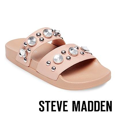 STEVE MADDEN-SHININ 寶石鉚釘鑲嵌二字帶厚底拖-粉色