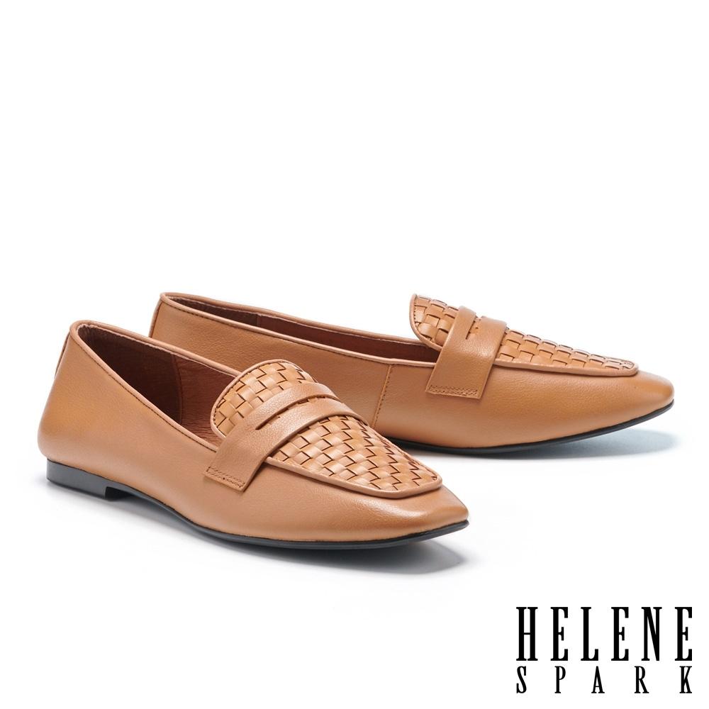 平底鞋 HELENE SPARK 簡約質感編織全真皮樂福平底鞋-棕