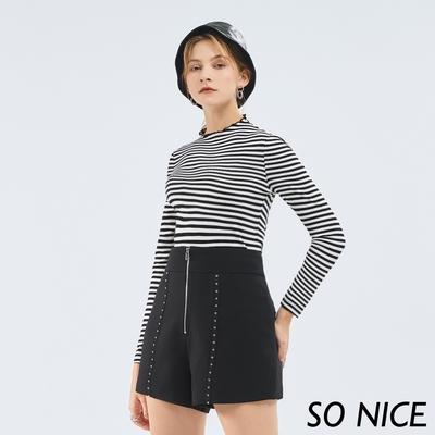 SO NICE個性釘珠織帶修身短褲