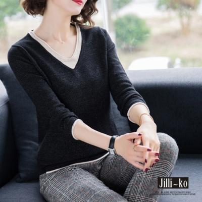 JILLI-KO 時尚撞色設計混織捲邊V領針織上衣- 黑/紅