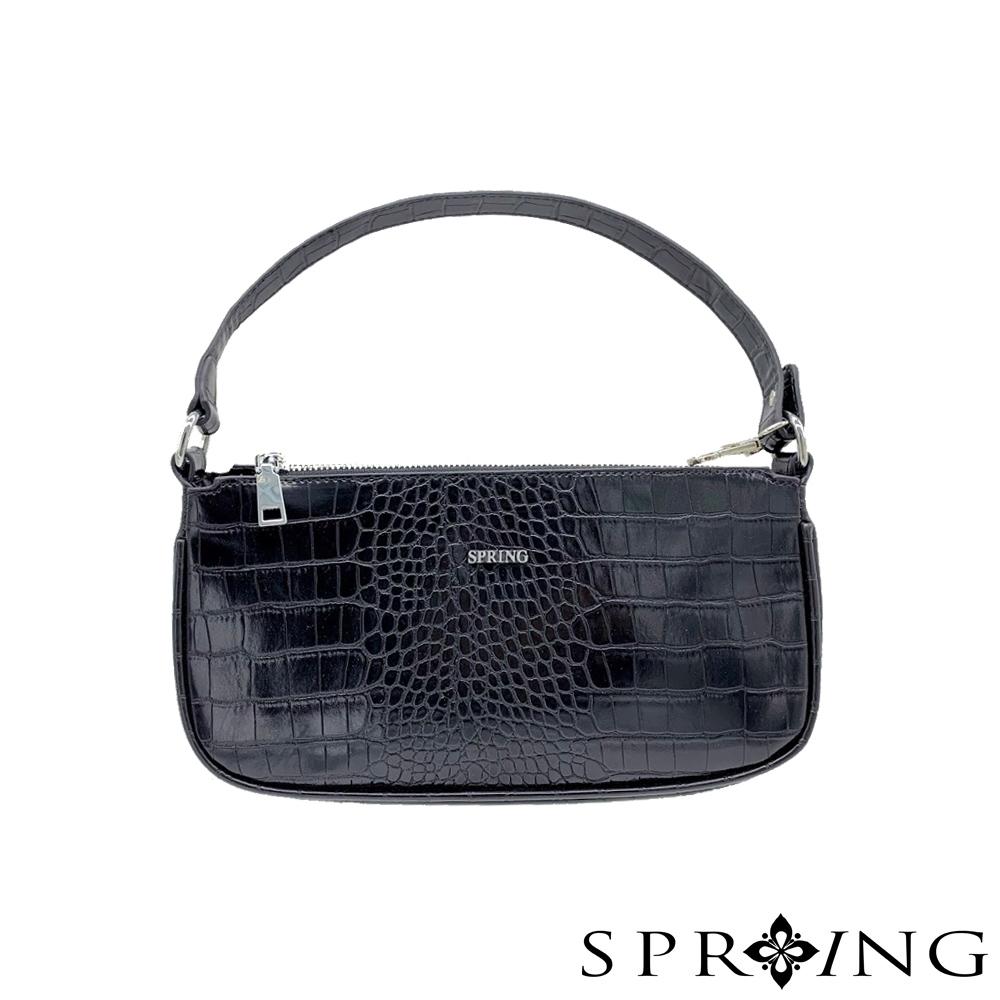 SPRING-平型鱷魚皮肩背包-經典黑