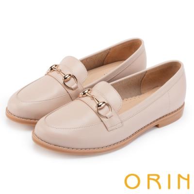 ORIN 女紳時尚 牛皮馬銜釦樂福鞋-粉裸