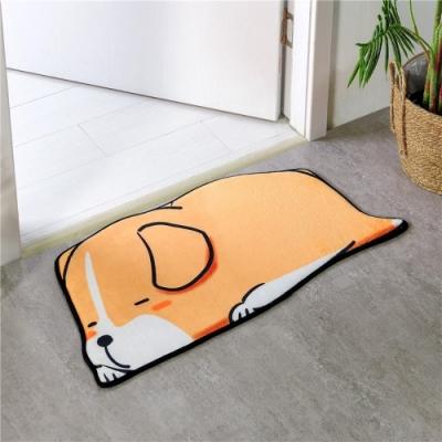 BUNNY LIFE 動物造型貝絨吸水防滑地墊腳踏墊-趴睡狗