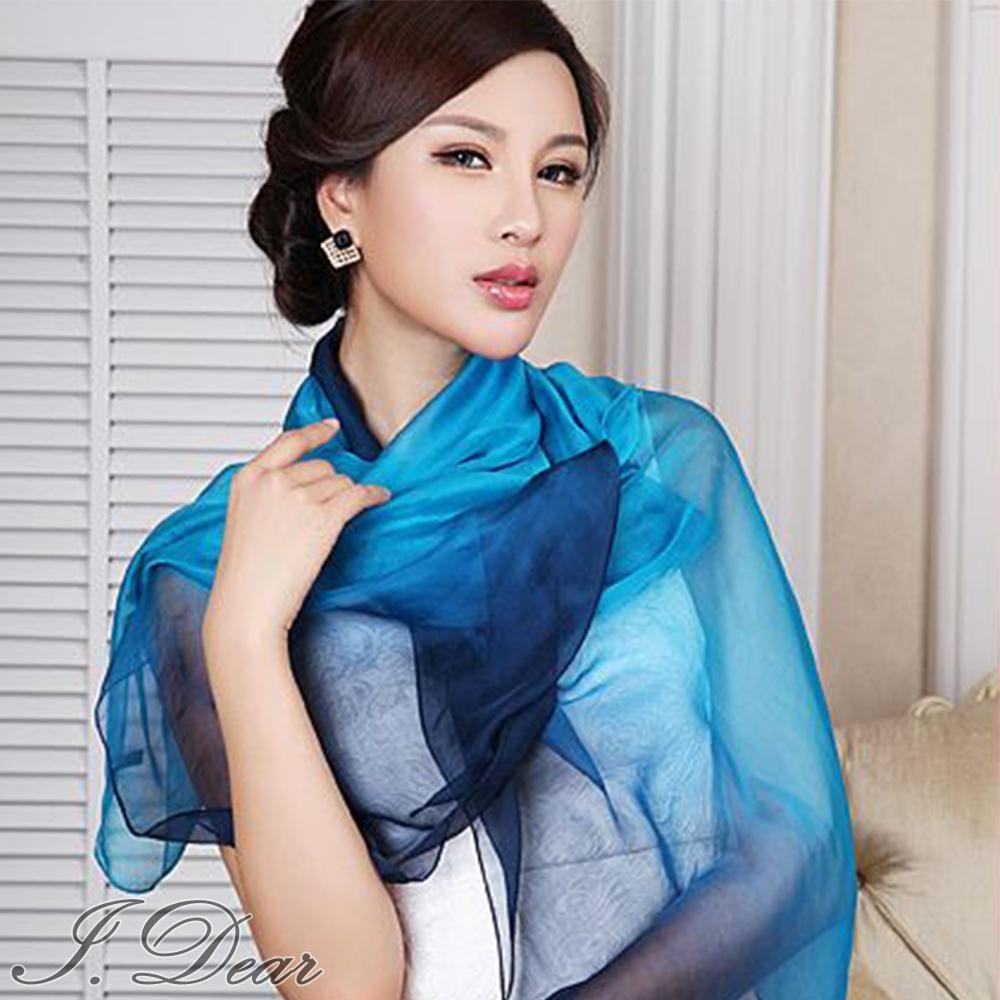 I.Dear-100%蠶絲頂級真絲素色漸層披肩/絲巾(碧藍漸層)