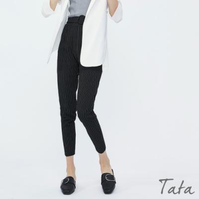 腰綁帶直條紋西裝褲 TATA