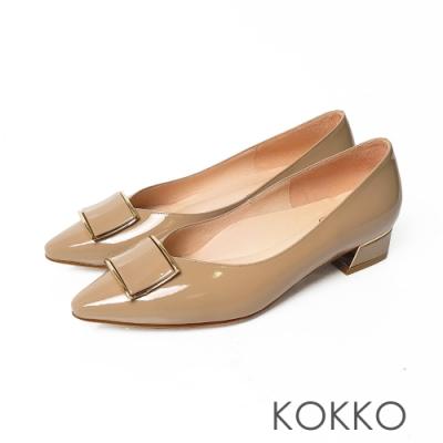 KOKKO超舒服方頭牛漆皮方塊跟鞋奶茶色