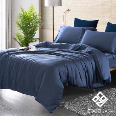 COOZICASA 雙人四件式60支天絲被套床包組-夜空藍