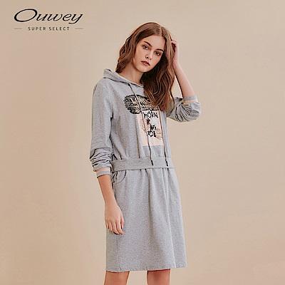 OUWEY歐薇 甜美運動風花朵連帽假兩件洋裝(灰)