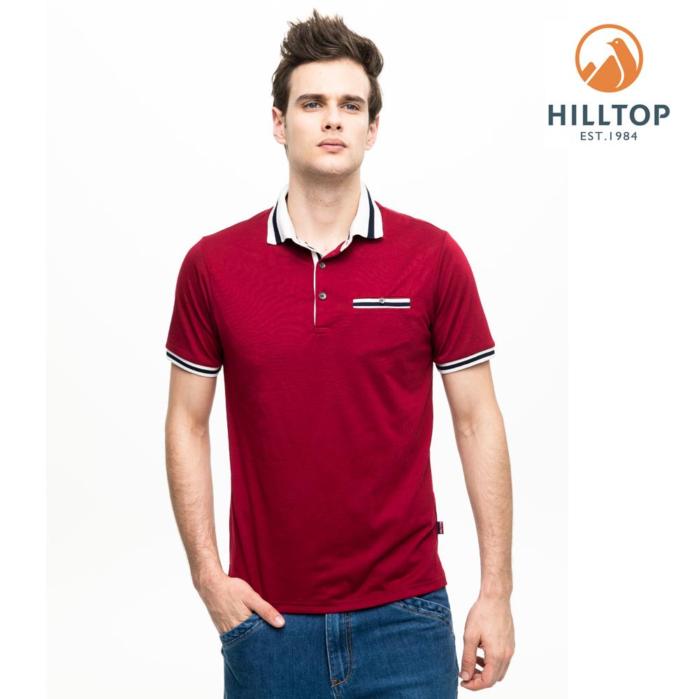 【hilltop山頂鳥】男款吸濕快乾抗菌彈性POLO衫S14MH1單車紅