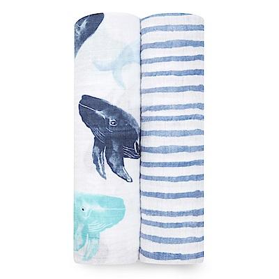美國aden+anais輕柔新生兒包巾(2入)-深海藍AA4042