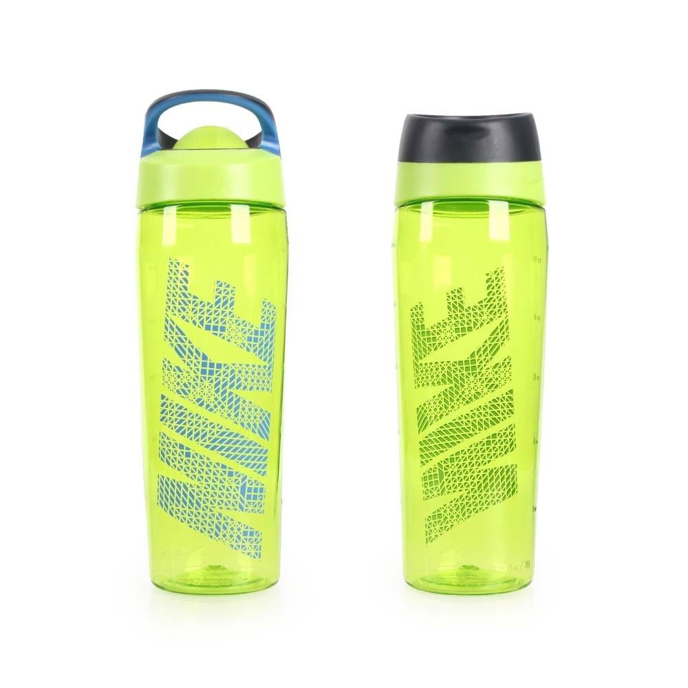 NIKE 推蓋式水壺24OZ-無吸管 慢跑 路跑 單車 自行車 登山 萊姆綠藍