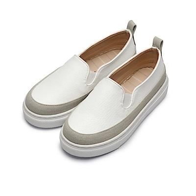 BuyGlasses 雙色拼接厚底懶人鞋-白