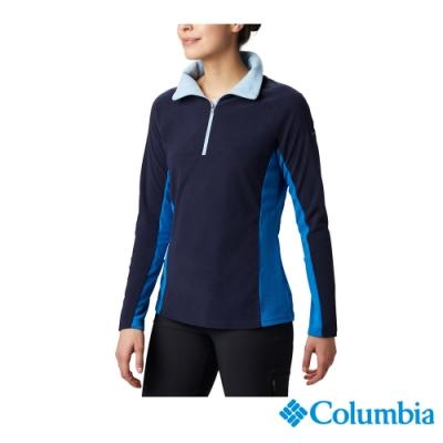 Columbia 哥倫比亞  女款-半開襟刷毛上衣-深藍 UAK11310