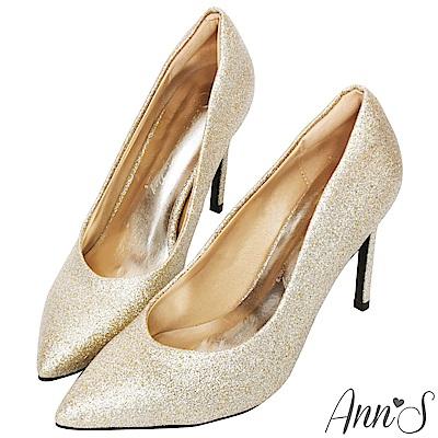 Ann'S亮眼焦點-V型顯瘦弧線素面高跟尖頭鞋-金