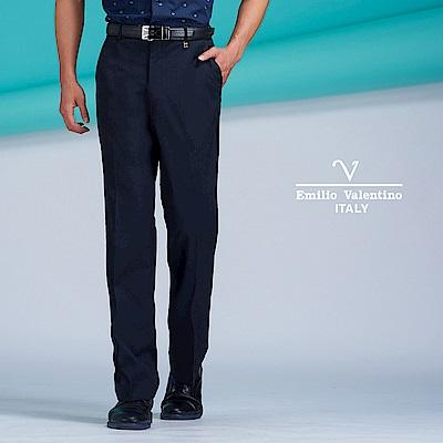 Emilio Valentino簡約俐落雙褶長褲_深藍(77-8B1026)