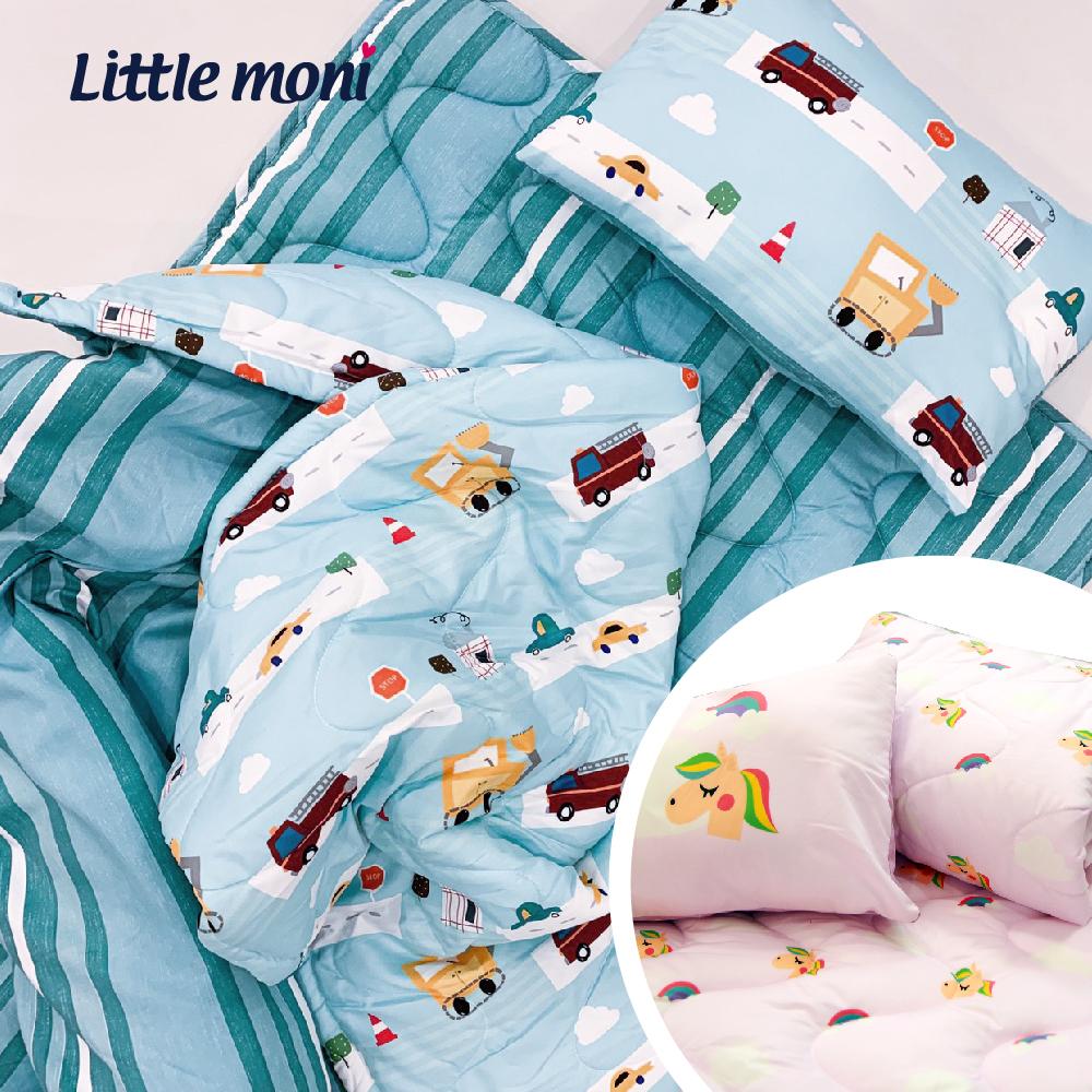 【little moni 】兒童寢具三件組(睡墊 涼被 枕頭) -城市汽車(藍綠色系)