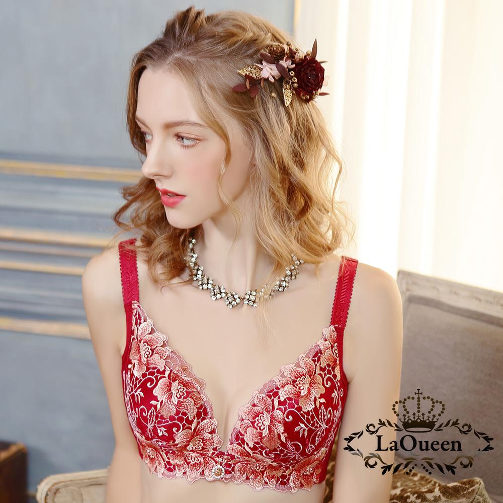 內衣 高貴優雅刺繡無鋼圈好運成套內衣-紅 La Queen