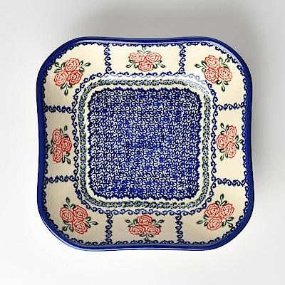 【波蘭陶 Vena】 漫野薔薇系列 方形深餐盤 20cm 波蘭手工製