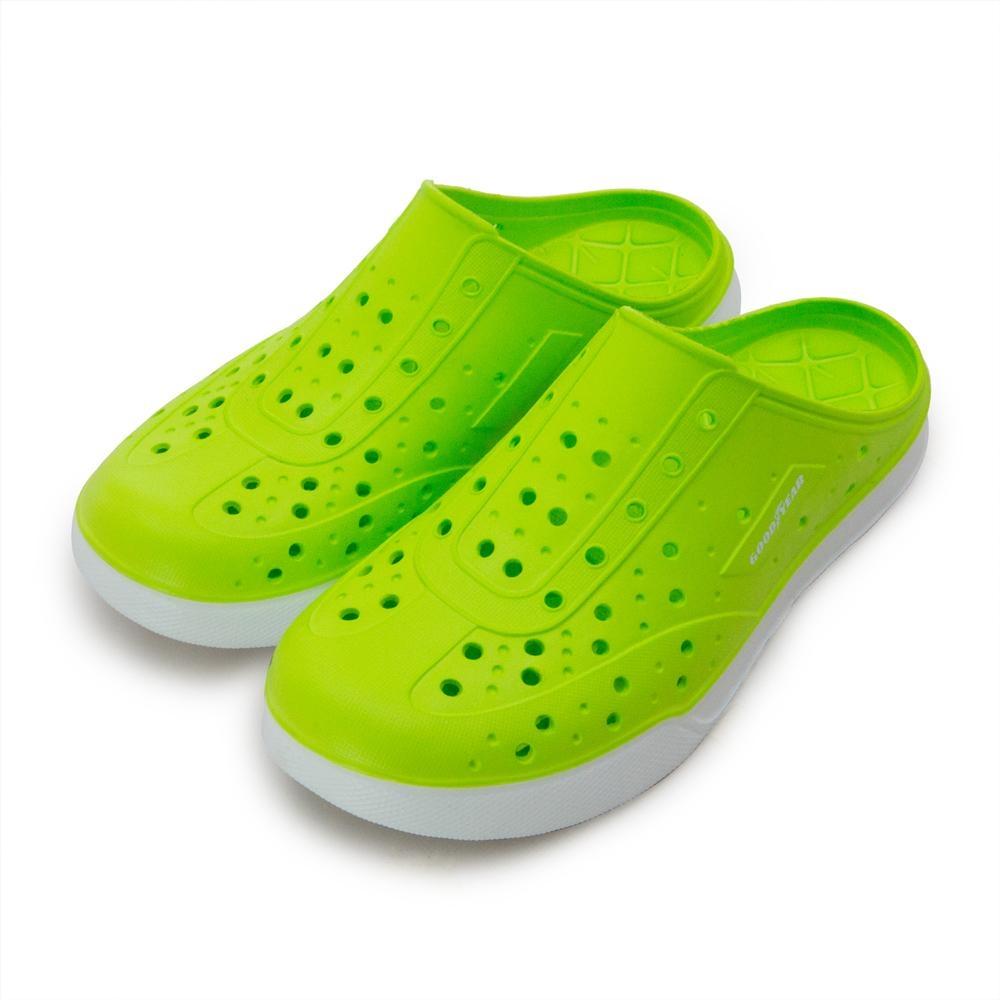 GOODYEAR 排水透氣輕便懶人水陸休閒洞洞涼、拖鞋 螢綠 83605