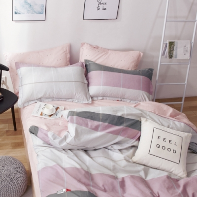La Lune 台灣製40支精梳棉雙人加大床包被套四件組-鋪著一層脂粉