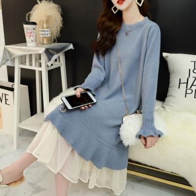 La Belleza假兩件圓領荷葉袖下擺拼接雪紡紗裙擺包心紗針織洋裝