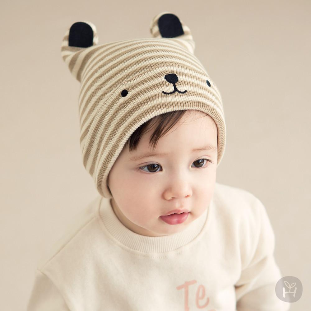 Happy Prince韓國製 Nua Beanie條紋小熊純棉嬰兒帽-多色