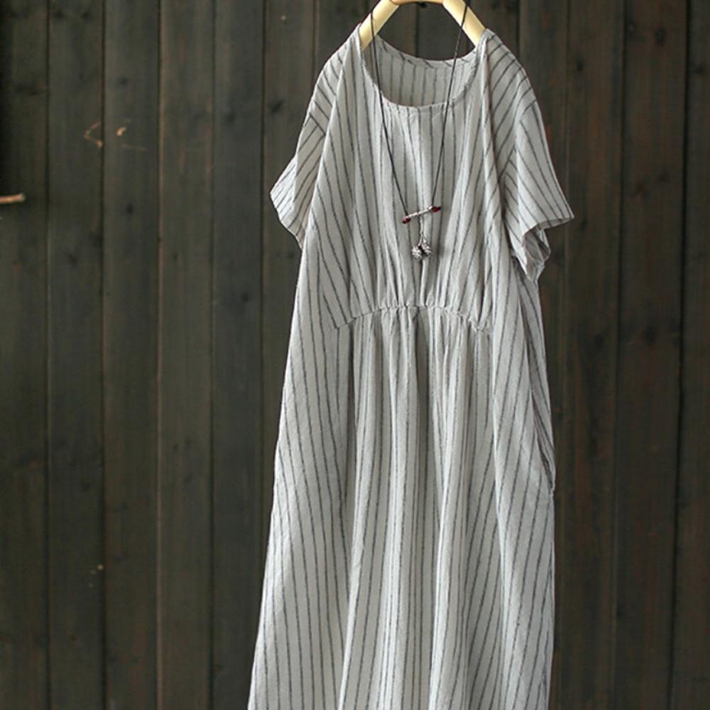純棉條紋裙中長版收腰洋裝-設計所在