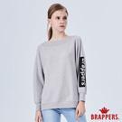 BRAPPERS 女款 船型領寬鬆長袖上衣-灰
