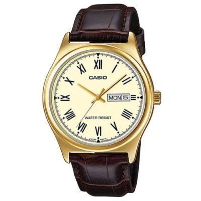CASIO 文青風星期日期顯示羅馬指針皮帶腕錶(MTP-V006GL-9B)黃面/38mm