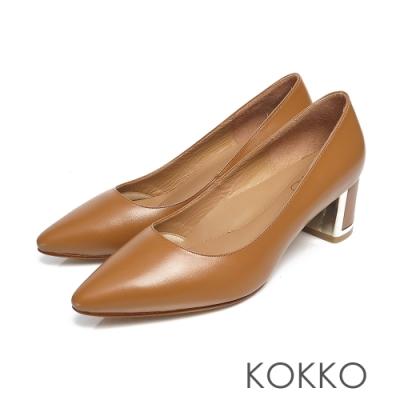 KOKKO -愛在黎明前全真皮尖頭粗跟鞋-大地咖