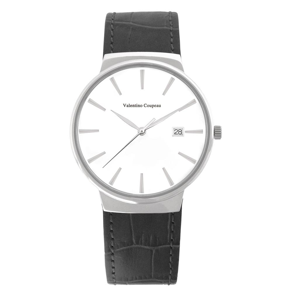 Valentino Coupeau 范倫鐵諾 古柏 時尚極簡設計腕錶【銀色/黑皮/白釘】