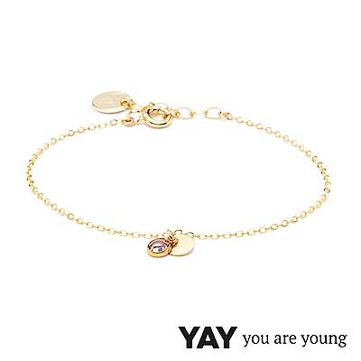 YAY You Are Young 法國品牌 Sultane 粉水晶手鍊 金色