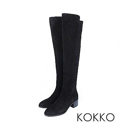 KOKKO - 逆天顯瘦真皮貼腿過膝長靴 -霧面黑